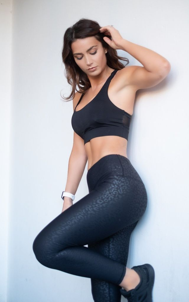 The Artemis Leopard Print  Leggings in BLACK by The Gym Wear Boutique