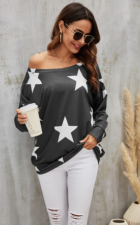 Oversized Star Print Top In Charcoal Grey by FS Collection Product photo