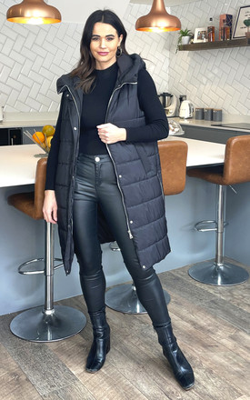 Noa Zip Front Hooded Gilet In Black by Blue Vanilla Product photo