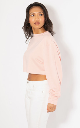 Nude Cropped Sweat Drop Jumper by KRISP