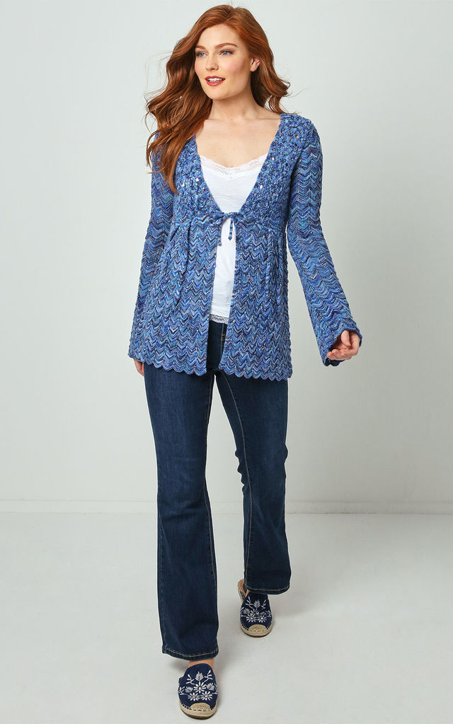 Joe Browns Tie-Waist Knitted Cardigan In Blue by Joe Browns