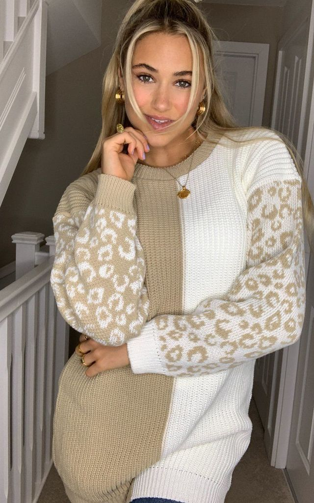 Alice Colour Block Animal Sleeves Jumper Beige by Girl In Mind