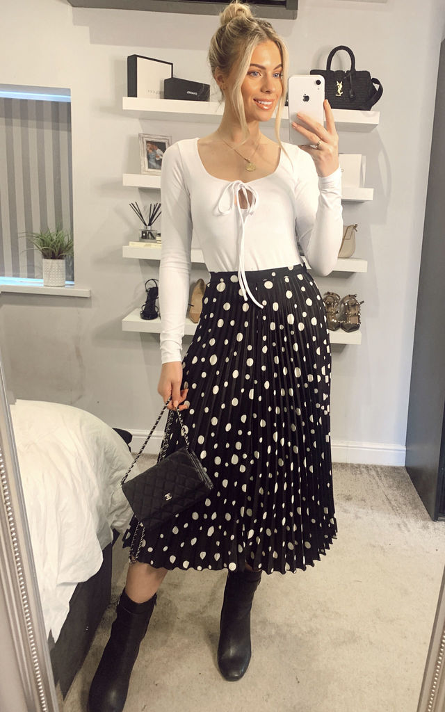 Cream Black Spot Midi Skirt by Glamorous