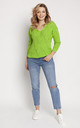 Loose Asymmetric Jumper in Green by MKM Knitwear Design