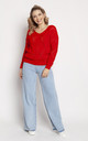 Loose Asymmetric Jumper in Red by MKM Knitwear Design