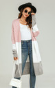 Colour Block Midi Cardigan In Pink & Grey & White by FS Collection