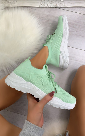Maile Pull On Sock Trainers in Green by Larena Fashion
