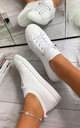 Lani Slim Sole Trainers in White by Larena Fashion