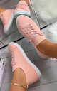Lani Slim Sole Trainers in Pink by Larena Fashion