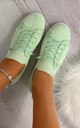 Lani Slim Sole Trainers in Mint by Larena Fashion
