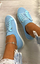 Lani Slim Sole Trainers in Light Blue by Larena Fashion