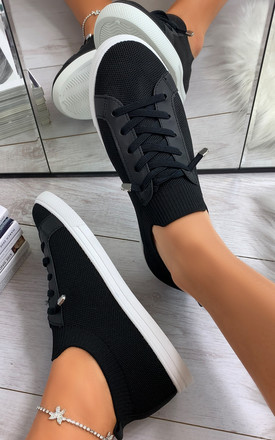 Lani Slim Sole Trainers in Black by Larena Fashion