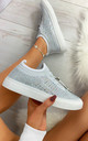 Nalini Flyknit All Over Diamante Trainers in White by Larena Fashion