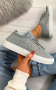 Nalini Flyknit All Over Diamante Trainers in Grey by Larena Fashion