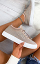Nalini Flyknit All Over Diamante Trainers in Dusty Blush by Larena Fashion