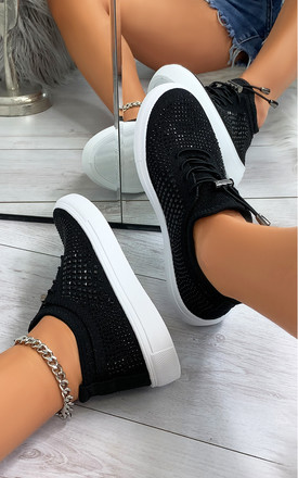 Nalini Flyknit All Over Diamante Trainers in Black by Larena Fashion