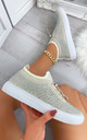 Nalini Flyknit All Over Diamante Trainers in Beige by Larena Fashion
