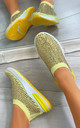 Randi Contrast Sole Embellished Trainers in Yellow by Larena Fashion