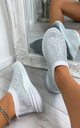 Randi Contrast Sole Embellished Trainers in White by Larena Fashion