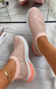 Randi Contrast Sole Embellished Trainers in Pink by Larena Fashion