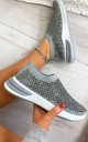 Randi Contrast Sole Embellished Trainers in Grey by Larena Fashion