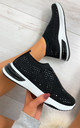 Randi Contrast Sole Embellished Trainers in Black by Larena Fashion