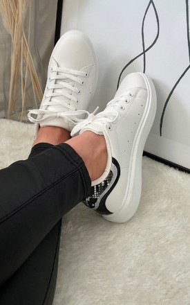 Mimi Lace Up Trainers in White with Black by IKRUSH
