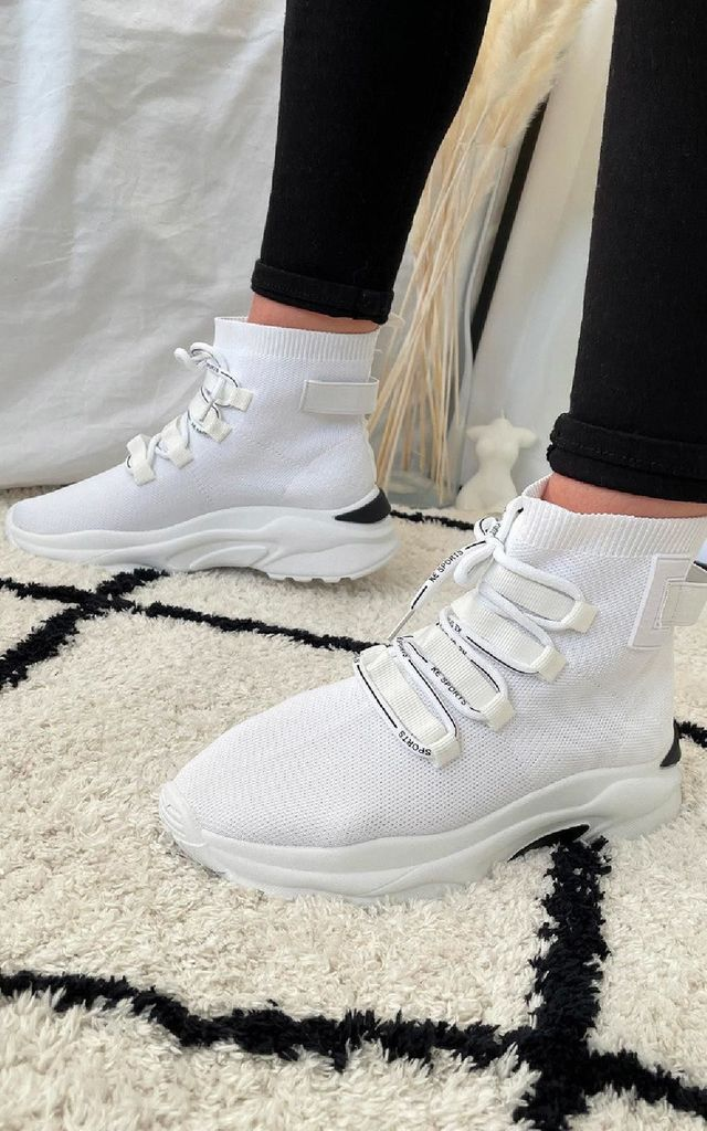 Belle Lace Up Sock Trainer in White by IKRUSH