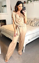 DEE LOUNGE WEAR JUMPSUIT WITH TIE WAIST IN CARAMEL by EDDI CLOTHING