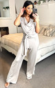 DEE LOUNGE WEAR JUMPSUIT WITH TIE WAIST IN STONE by EDDI CLOTHING