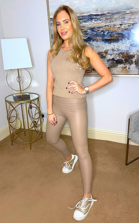 Leather Look Leggings Beige by So Sass