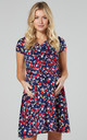 Maternity & Nursing Midi Skater Dress In Navy & Small Red Roses by Chelsea Clark