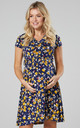Maternity & Nursing Midi Skater Dress In Navy & Small Yellow Roses by Chelsea Clark