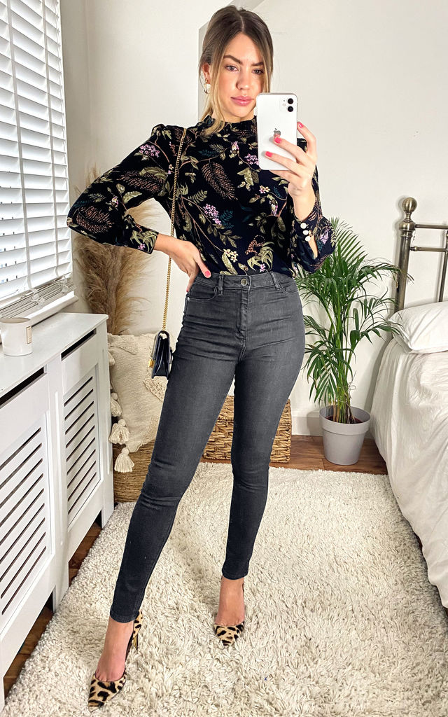 High Waisted Skinny Jeans in Black by FreeSpirits