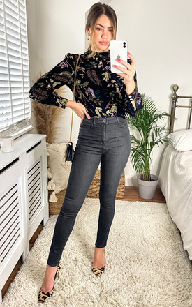 High Waisted Skinny Jeans in Faded Black by FreeSpirits