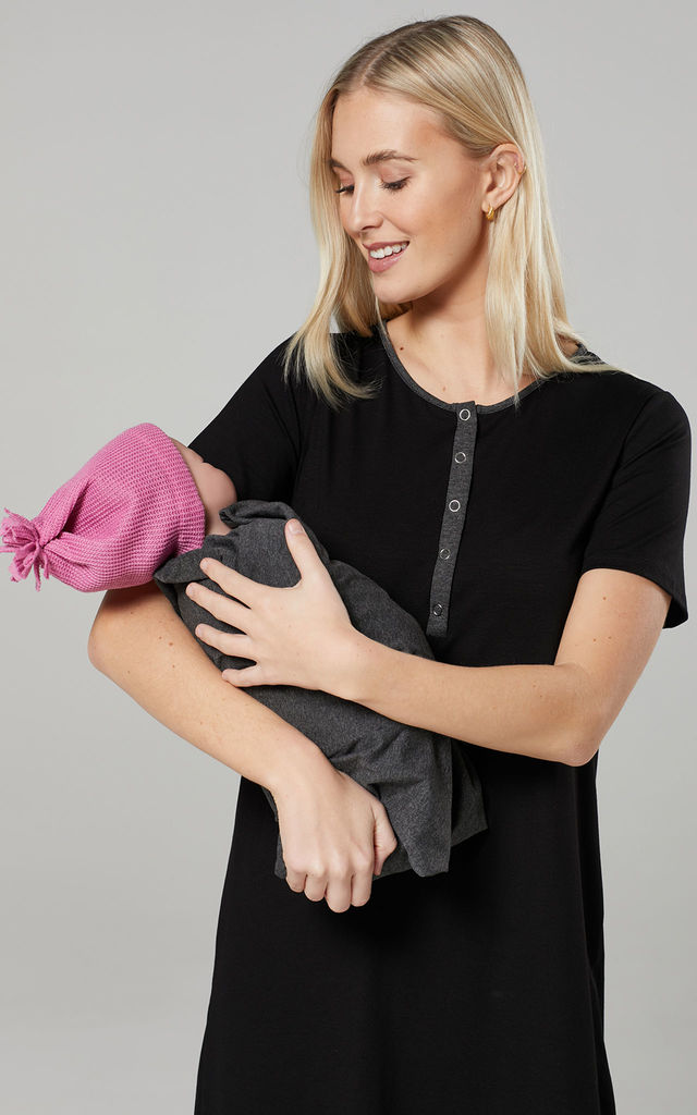 Women's Mum's Labour Gown with Matching Baby Swaddle Blanket by Chelsea Clark