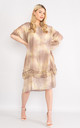 Beige tie dye lace trim silk dress. by Lucy Sparks
