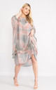 Grey tie dye lace trim silk dress. by Lucy Sparks