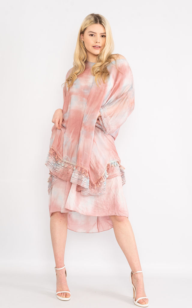 Pink tie dye lace trim silk dress. by Lucy Sparks