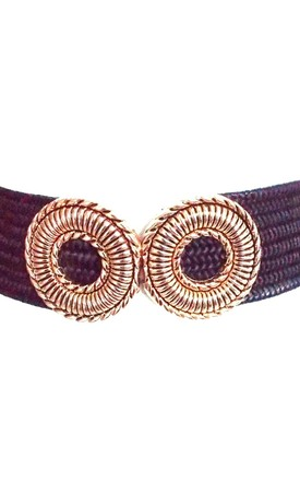 Black Raffia and Gold Double Buckle Stretch Style Belt by Olivia Divine Jewellery