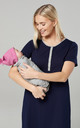 Women's Mum's Labour Gown with Matching Baby Swaddle Blanket in Navy by Chelsea Clark