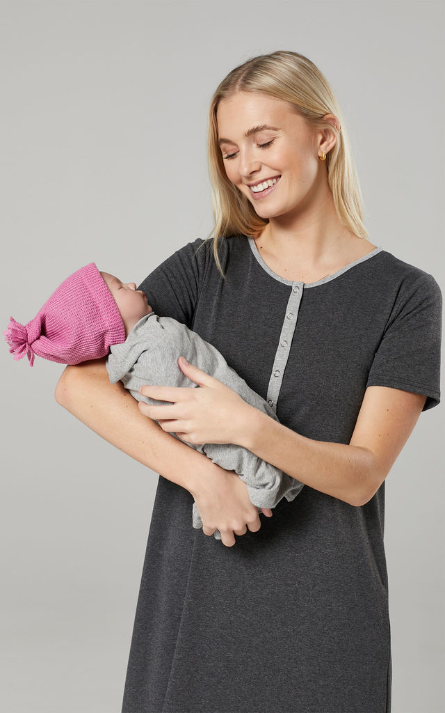 Women's Mum's Labour Gown with Matching Baby Swaddle Blanket in Graphite Melange by Chelsea Clark