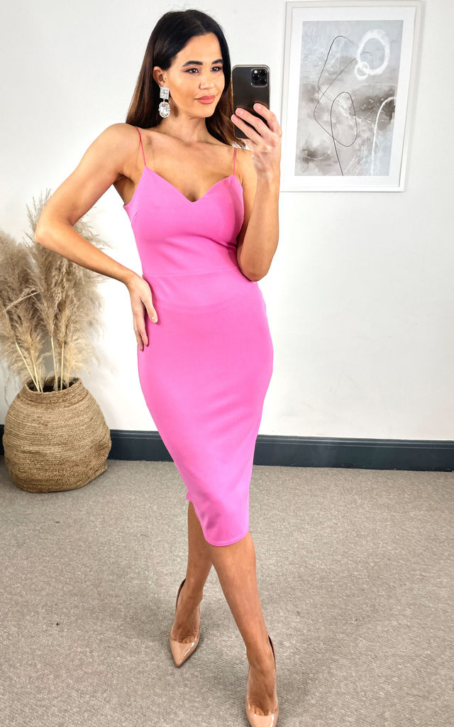 Mae Hot Pink Sweetheart Midi Bodycon by B of London