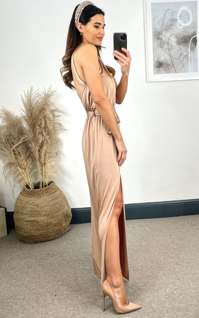 Lila Maxi Twist Dress In Rose Gold by B of London