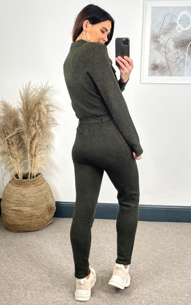 PREMIUM Khaki Knitted Long Sleeve Jumpsuit With Tie Waist by The ModestMe Collection