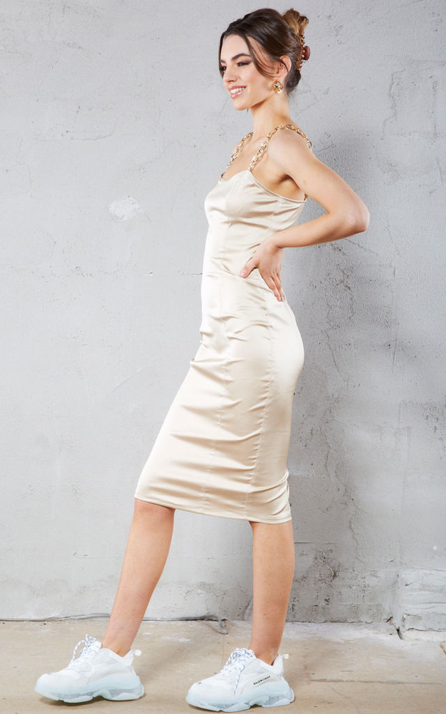 Champagne Satin Midi Dress with Gold Straps by Call Me Eden