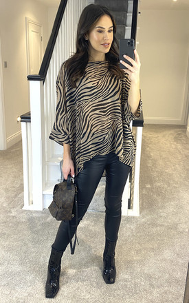 Stone Animal Print Silky Tunic by APRICOT Product photo
