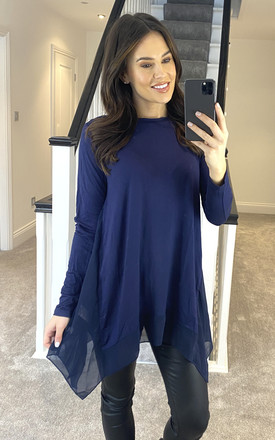 Navy Waterfall Hem Roll Sleeve Top by APRICOT