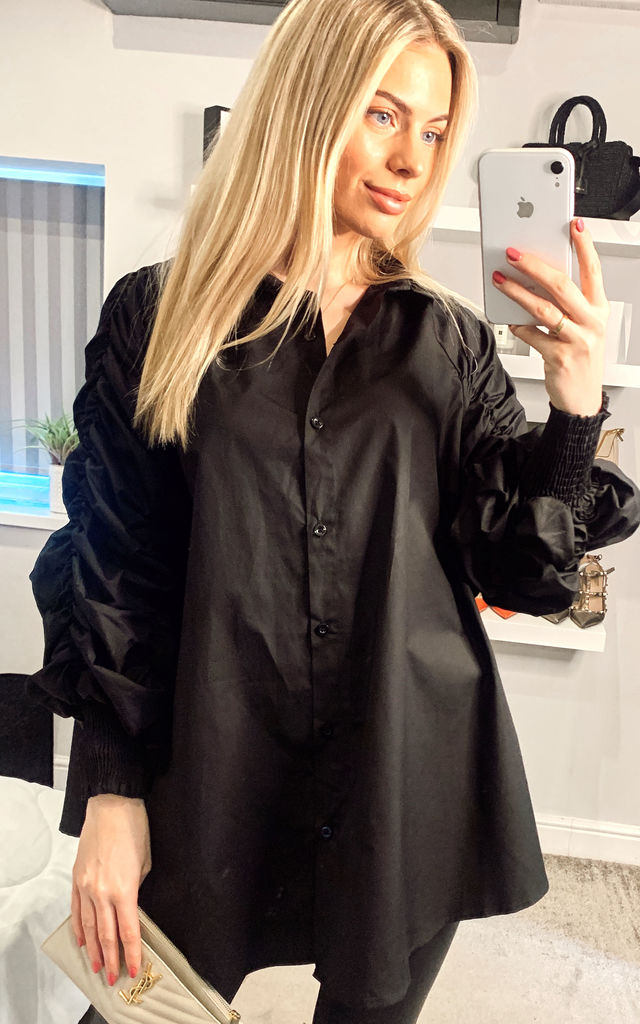 Cotton shirt with Ruched Sleeve in black by CY Boutique