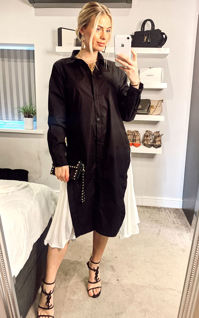 Cotton shirt dress with Pleated  chiffon hem design in black by CY Boutique